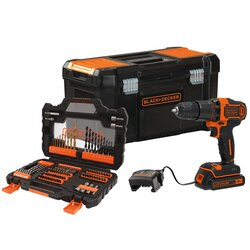 Black and Decker - 18V Hammer Drill with 15Ah Battery 104 Piece Acscesory Set and 400mA Charger in 19inch Toolbox - BCD700K104A