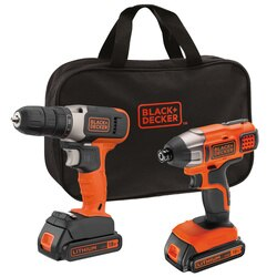 Black and Decker - 18V Drill Driver 18V Impact Driver 2x 15Ah Batteries and 400mA Cup Charger in Medium Soft Bag - BCK26S2S