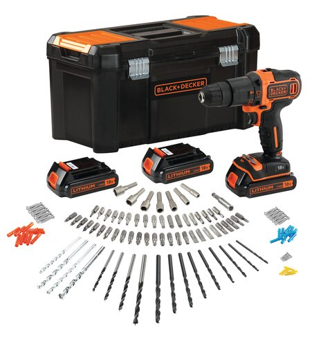 Black and Decker - 18V Lithiumion 2Gear Hammer Drill with 3 Batteries Fast Charger and 120 accessories in Storage Case - BDCHD181B3A